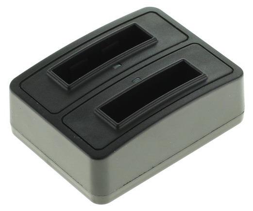 Dubbele Batterijlader Panasonic CGA-S005, Fuji NP-70, Ricoh DB-60 Zwart