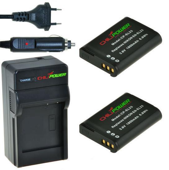 2 camera-accu's EN-EL23 inclusief oplader en autolader