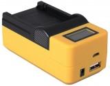 Compacte oplader voor Canon accu LP-E5 - met LCD en USB aansluiting