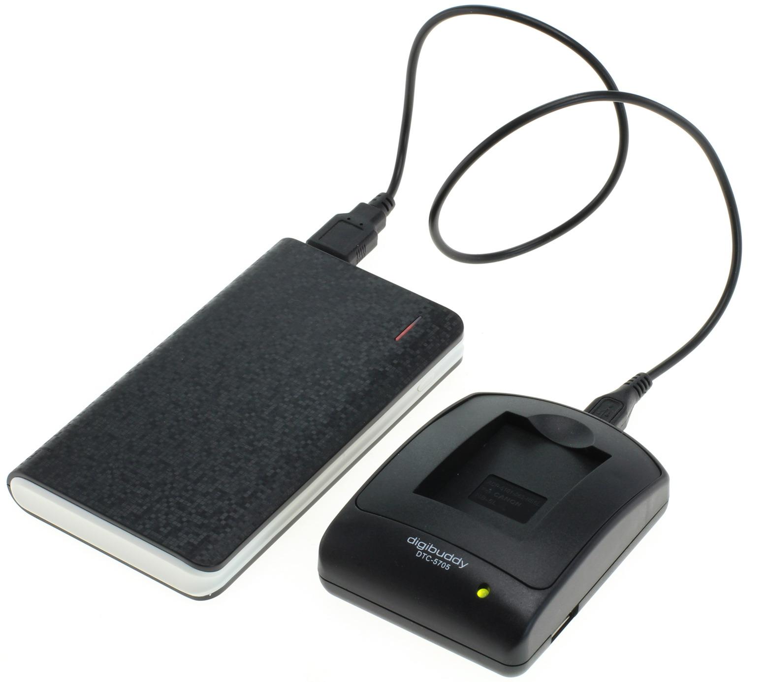 Image of Powerpakket: mini USB oplader + 8000mAh Powerbank voor Sony NP-FH30 en Sony NP-FH50