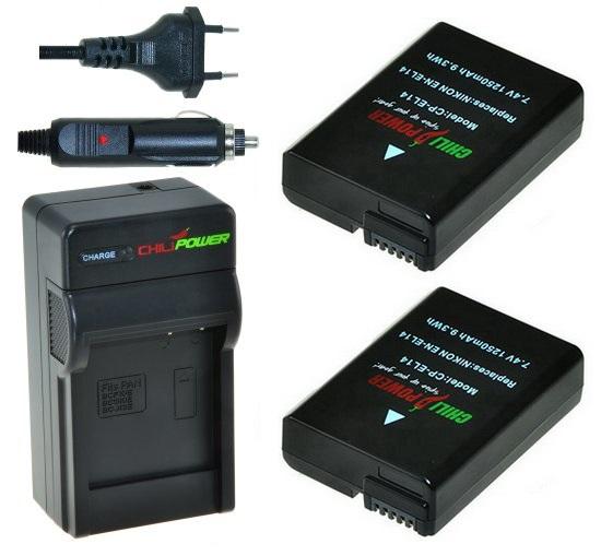 2 x EN-EL14 accu's voor Nikon inclusief oplader en autolader