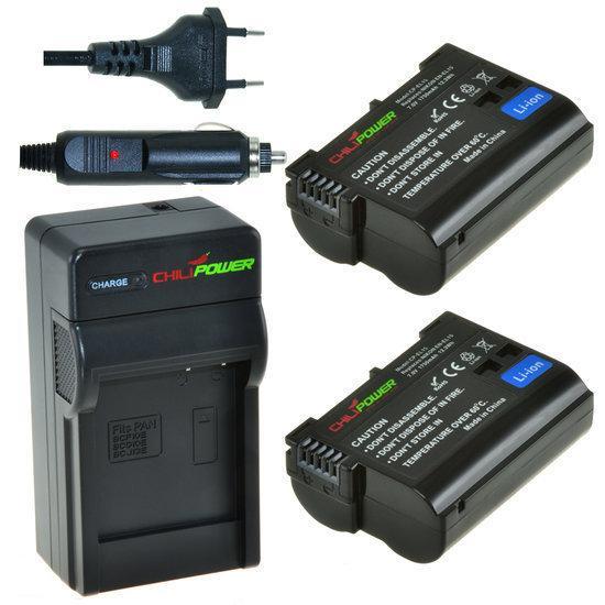 2 x EN-EL15 accu's voor Nikon inclusief oplader en autolader