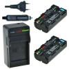 2 x NP-F550 accu's voor Sony - inclusief oplader en autolader - Origineel ChiliPower