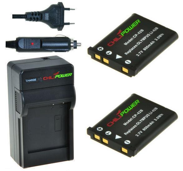 2 x EN-EL10 accu's voor Nikon inclusief oplader en autolader