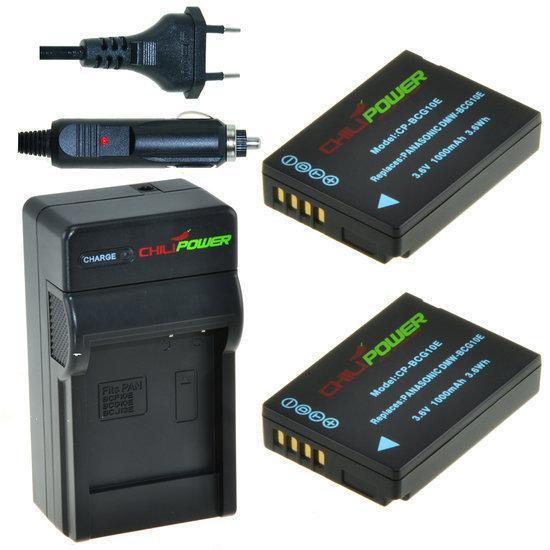 2 x DMW-BCG10 accu's voor Panasonic inclusief oplader en autolader