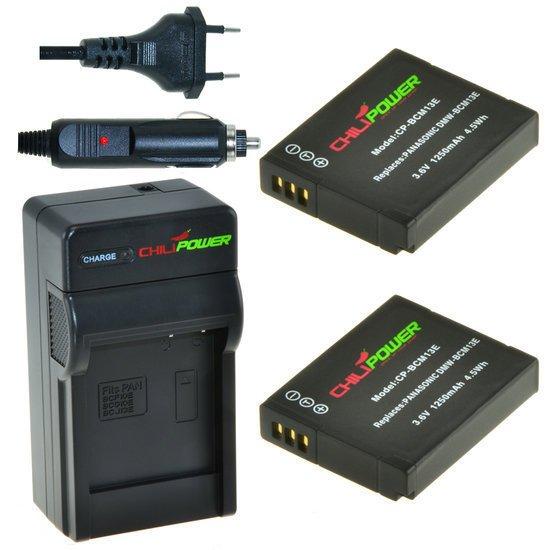 2 x DMW-BCM13 accu's voor Panasonic inclusief oplader en autolader