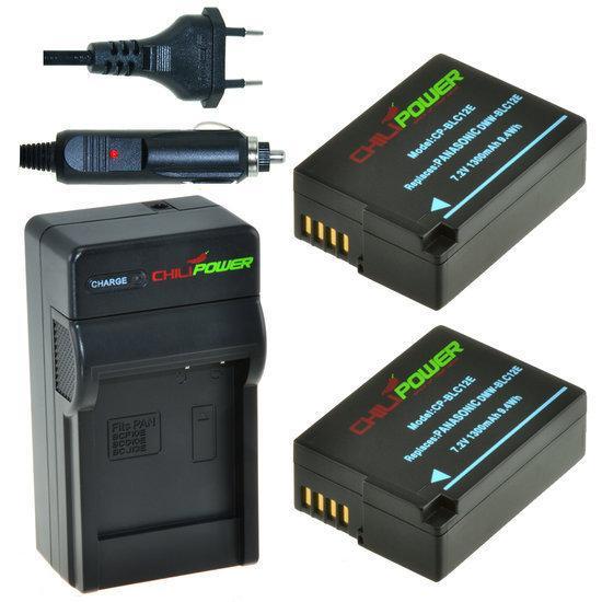 2 x DMW-BLC12 accu's voor Panasonic inclusief oplader en autolader