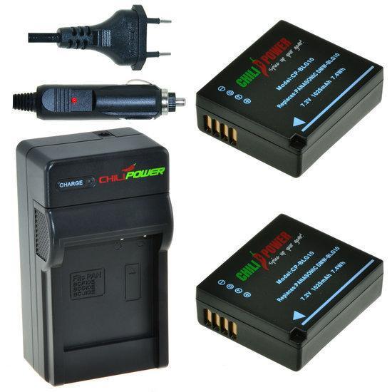 2 x DMW-BLG10 accu's voor Panasonic inclusief oplader en autolader