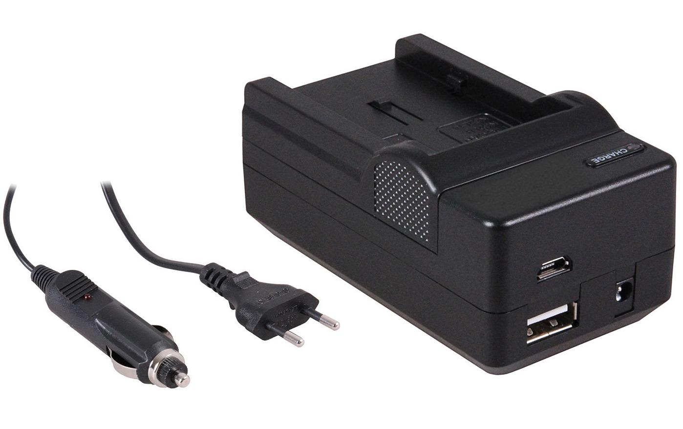 4-in-1 acculader voor Canon NB-2LH accu compact en licht laden via stopcontact, auto, USB en Powerba