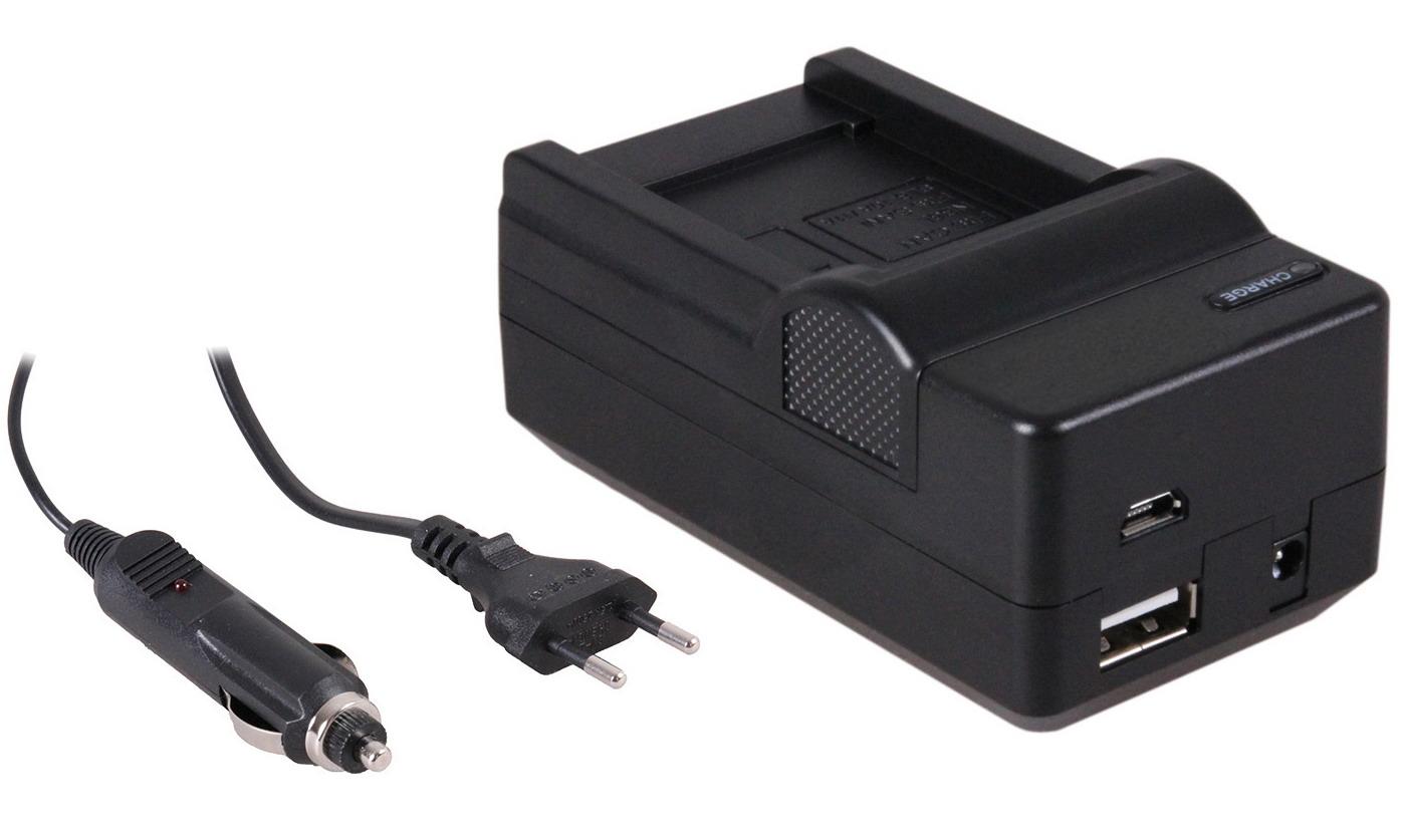 4-in-1 acculader voor Samsung SLB-10A accu compact en licht laden via stopcontact, auto, USB en Powe