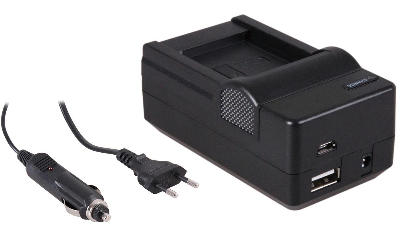 4-in-1 acculader voor Canon NB-11L accu compact en licht laden via stopcontact, auto, USB en Powerba