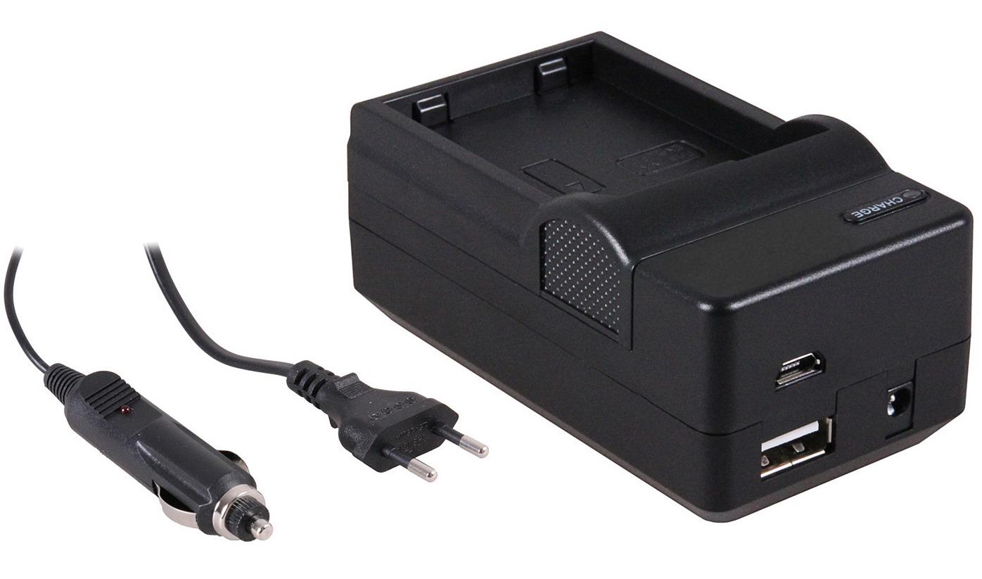 4-in-1 acculader voor Nikon EN-EL14 en EN-EL14a accu compact en licht laden via stopcontact, auto, U