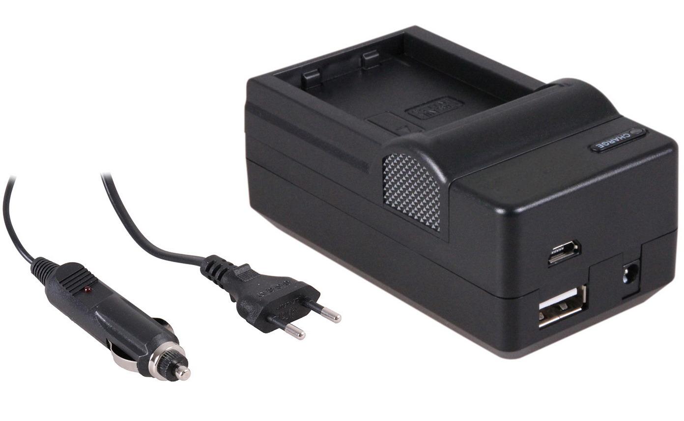 4-in-1 acculader voor Nikon EN-EL23 accu compact en licht laden via stopcontact, auto, USB en Powerb