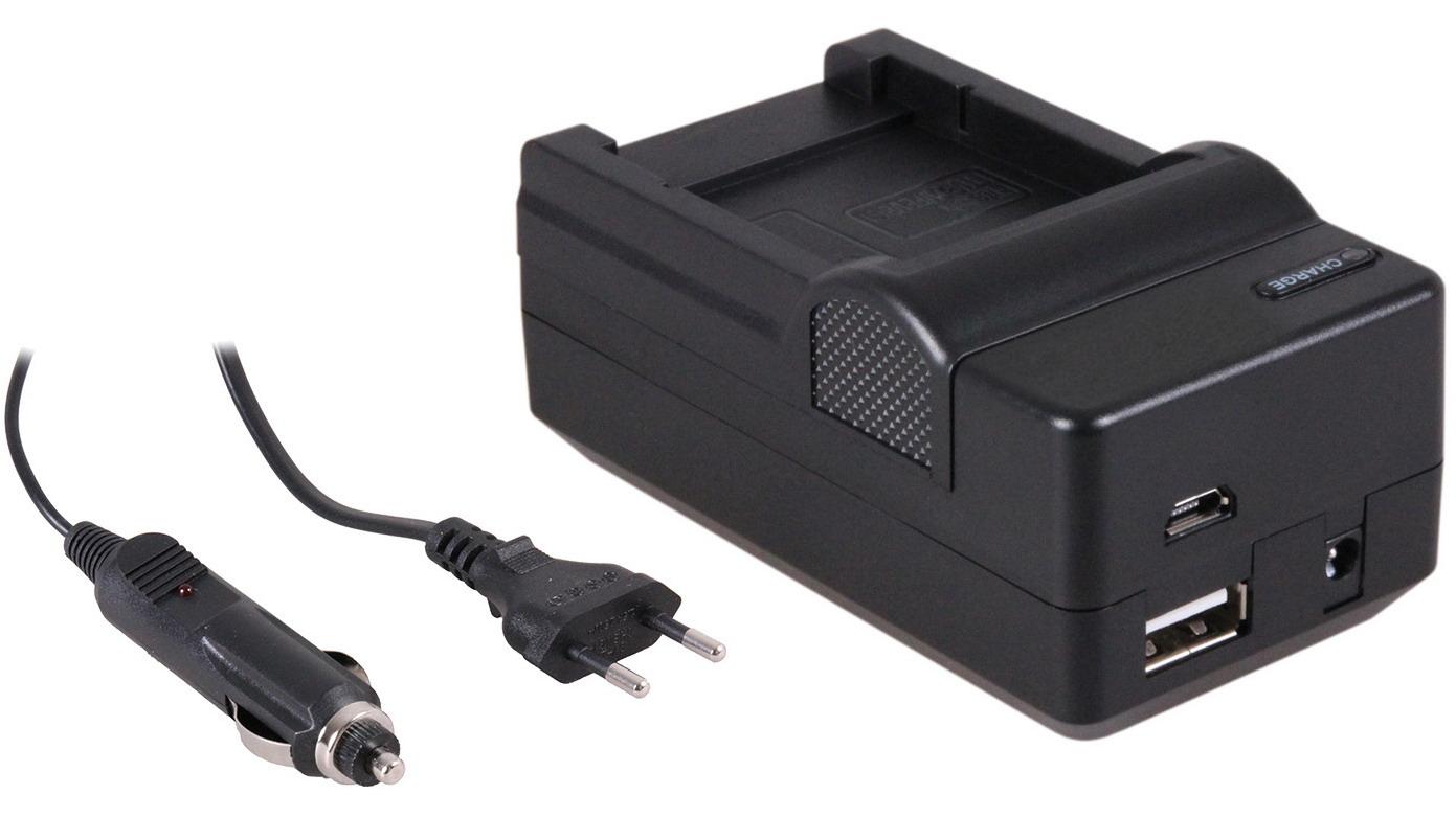 4-in-1 acculader voor Sony NP-BG1-NP-FG1 accu compact en licht laden via stopcontact, auto, USB en P