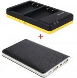 Powerpakket Deluxe: BLS-5 duo oplader + 8000mAh Powerbank voor 2 Olympus accu's BLS-5