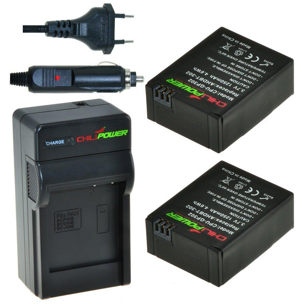 2 x AHDBT-302 accu's voor GoPro Hero3 en Hero3+ inclusief oplader en autolader