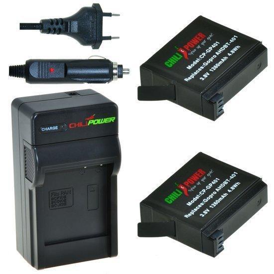 2 x AHDBT-401 accu's voor GoPro Hero4 inclusief oplader en autolader