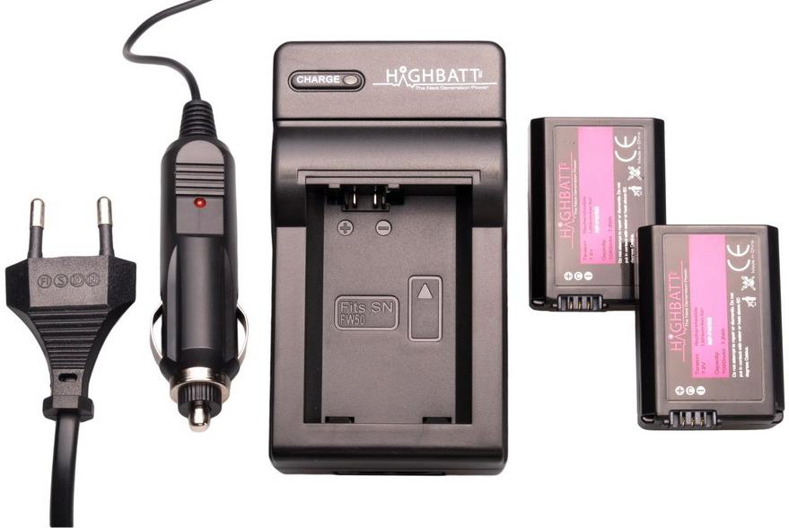 Highbatt 2 x NP-FW50 accu's voor Sony + oplader en autolader