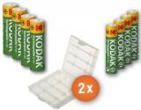 Kodak Combi Pack - 4 x AA en 4 x AAA oplaadbare batterijen + 2 beschermdoosjes