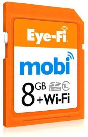 Eye-Fi Mobi - SDHC - Wi-Fi geheugenkaart - 8GB - Mobi stuurt foto's en video van uw camera naar uw smartphone of tablet. Geen internet/netwerk nodig, Mobi creëert zijn eigen WiFi netwerk, werkt dus altijd en overal! Op werkdagen voor 18:00 besteld en betaald via iDeal, dezelfde dag verstuurd!